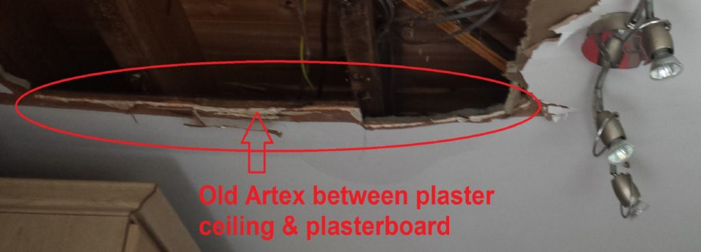 This image has an empty alt attribute; its file name is Asbestos-found-in-old-Artex-coating-under-water-damaged-plastered-kitchen-ceiling-1024x369.jpg