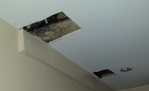 Ceiling damage caused plumber locating leak in Ely, Cardiff