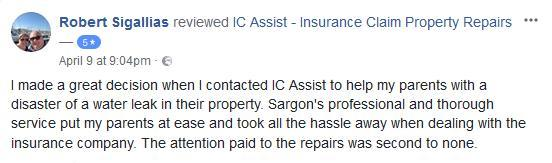 Facebook review for water damage repairs to lounge and hallway
