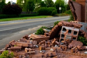 Collapsed wall following impact from a car