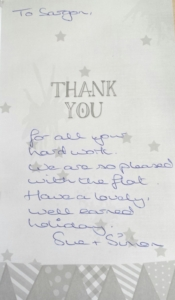 Thank you message for managing a water damage repairs in Cyncoed Cardiff