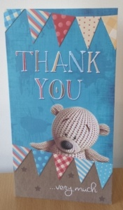 Thank you card - water damage claim in Cyncoed Cardiff