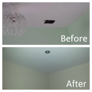 Damaged artex ceiling replaced