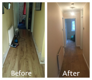 Before & after picture of water damage restoration in a flat